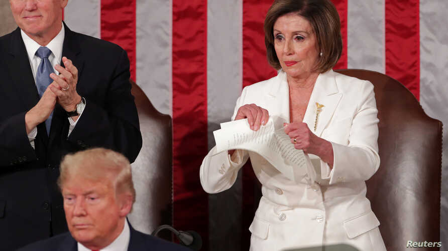 Speaker of the House Nancy Pelosi (D-CA) rips up a copy of U.S. President Donald Trump's speech after his State of the Union address to a joint session of the U.S. Congress in the House Chamber of the Capitol in Washington, Feb. 4, 2020.