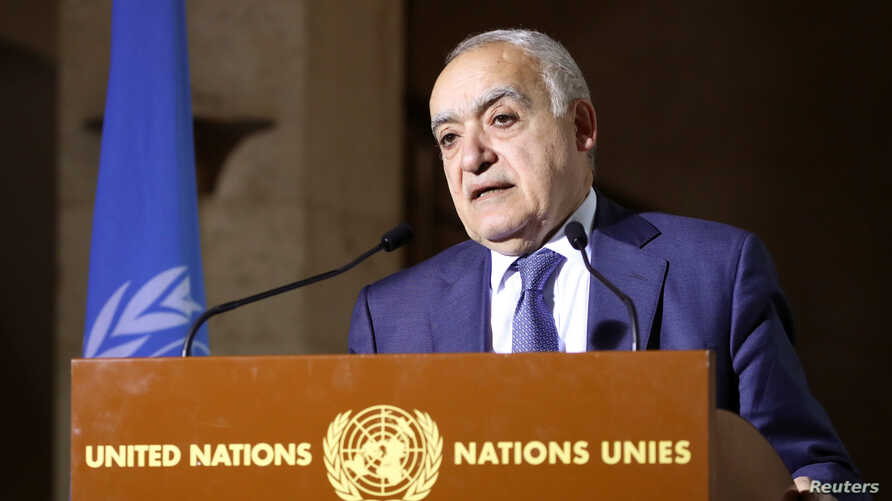 U.N. Envoy for Libya, Ghassan Salame holds a news briefing after a meeting of the 5+5 Libyan Joint Military Commission in…