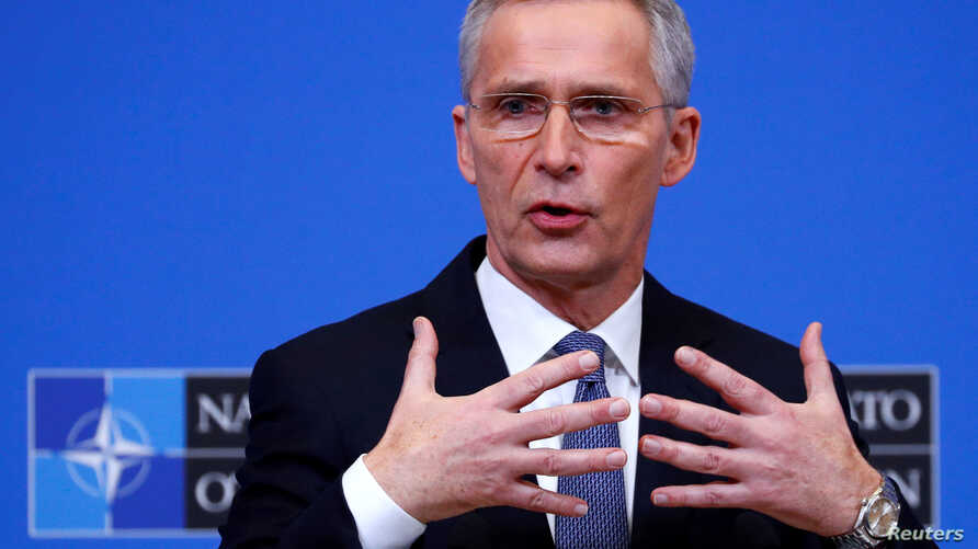 NATO Secretary General Jens Stoltenberg speaks at a news conference following a NATO defence ministers meeting at the Alliance…
