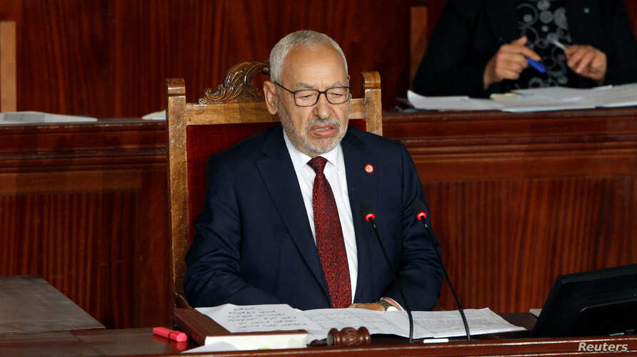 Rached Ghannouchi, leader of Tunisia's moderate Islamist Ennahda party, attends the parliament's opening with a session to…