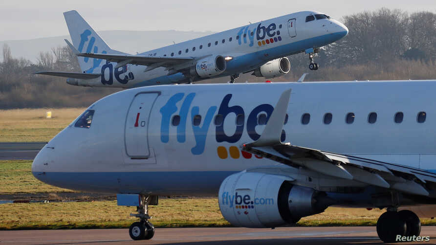 A Flybe plane takes off from Manchester Airport in Manchester, Britain January 20, 2020. REUTERS/Phil Noble