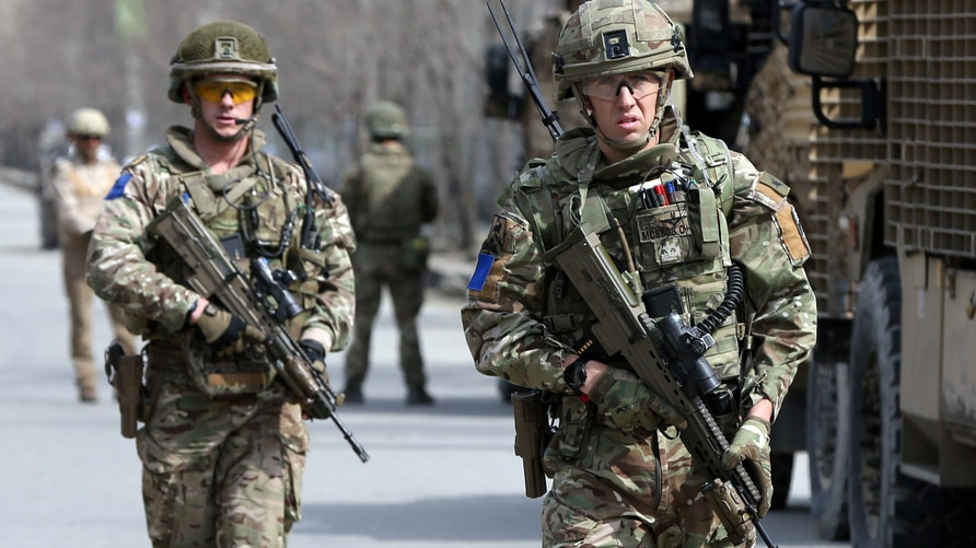 British soldiers with NATO-led Resolute Support Mission arrive at the site of an attack in Kabul, Afghanistan March 6, 2020…