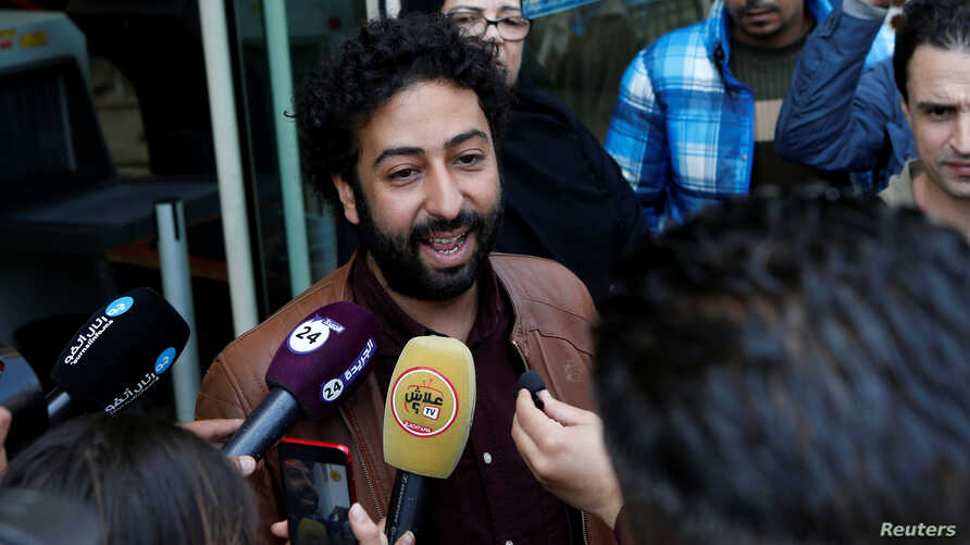Journalist and activist Omar Radi speaks to the media outside court in Casablanca, Morocco March 12, 2020. REUTERS/Youssef…