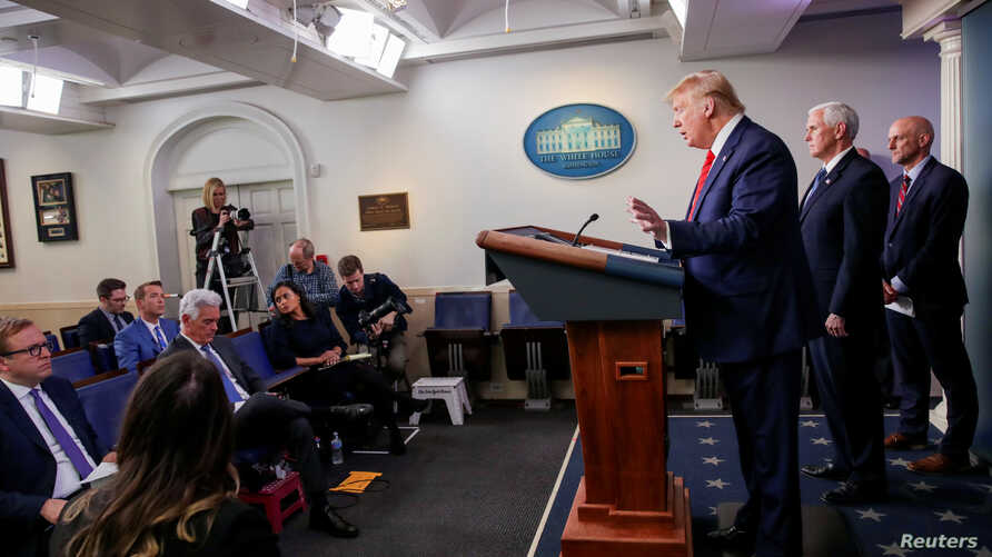 U.S. President Donald Trump takes questions during the coronavirus response daily briefing at the White House in Washington, U…