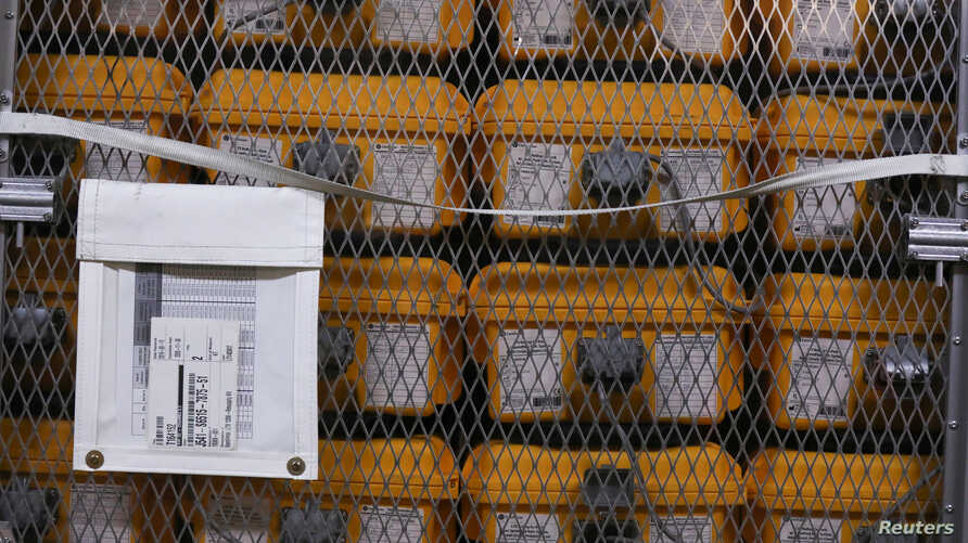 Ventilators lie at the New York City Emergency Management Warehouse before being shipped out for distribution due to concerns…