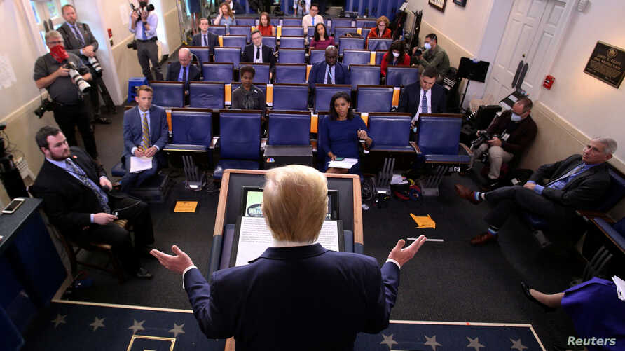 U.S. President Donald Trump addresses the daily coronavirus task force briefing at the White House in Washington, U.S., April 8…
