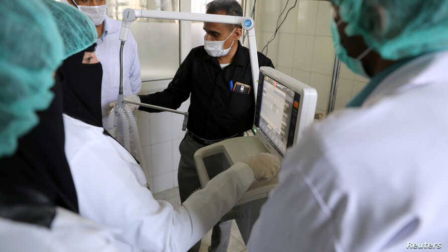 FILE PHOTO: Nurses receive training on using ventilators, recently provided by the World Health Organization at the intensive…