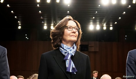 FILE - CIA Director Gina Haspel arrives to testify before a Senate Intelligence Committee on Capitol Hill.