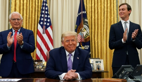 President Donald Trump announced a peace deal between Israel and the United Arab Emirates from the Oval Office of the White House
