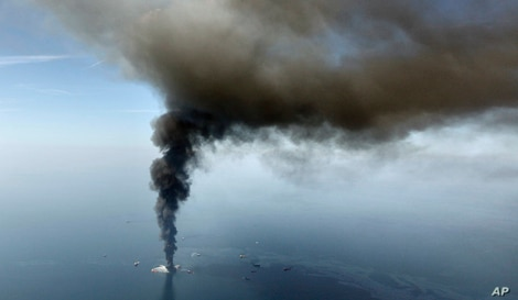 FILE - The Deepwater Horizon oil rig burns in the Gulf of Mexico,April 21, 2010.
