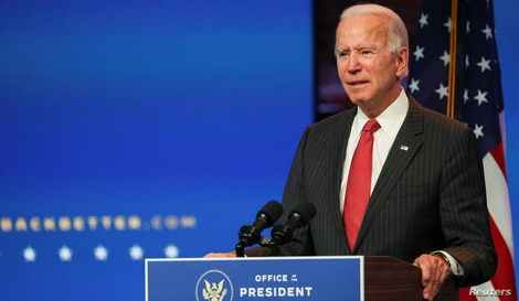 U.S. President-elect Joe Biden speaks to reporters following an online meeting with members of the National Governors