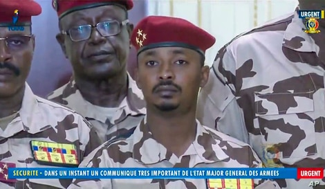Mahamat Idriss Deby Itno, 37, the son of Chadian President Idriss Deby Itno, is seen during a military broadcast.