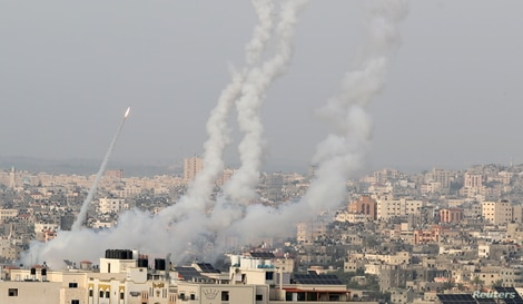 Rockets are launched by Palestinian militants into Israel, in Gaza May 10, 2021. REUTERS/Mohammed Salem