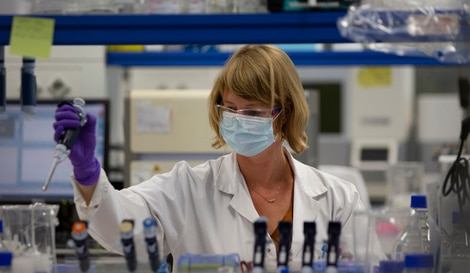 A lab technician works during research on coronavirus, COVID-19, at Johnson & Johnson subsidiary Janssen Pharmaceutical in…