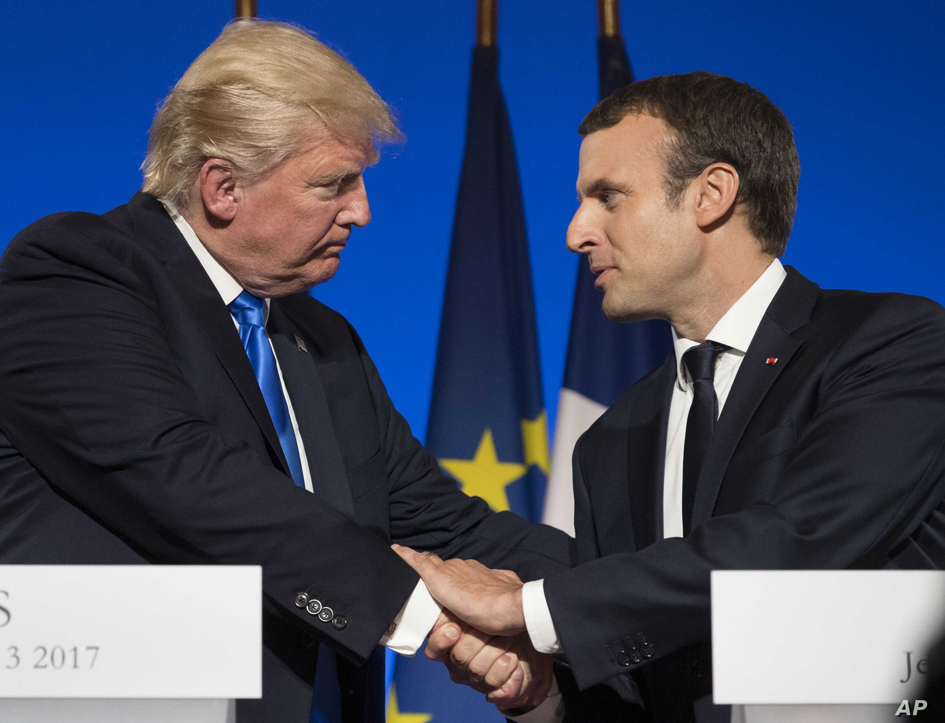 Trump Macron Work To Bridge Differences But No Promises On Climate Voice Of America English