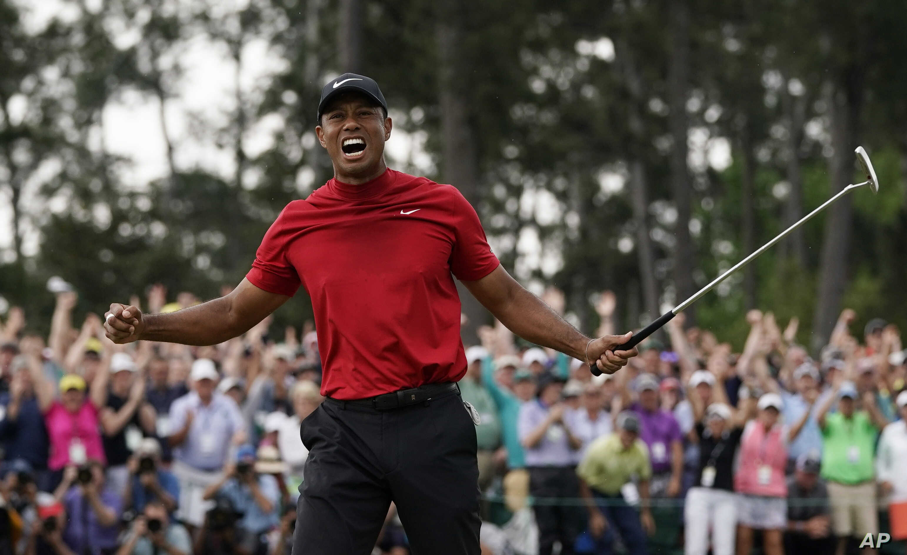 Tiger Woods Wins Masters His 15th Major Golf Championship Voice Of America English