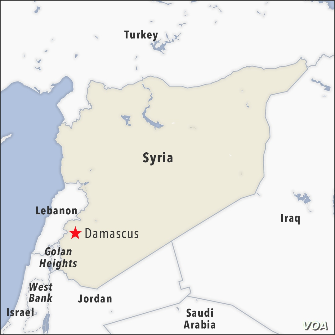 Map of Damascus Syria also showing the Golan Heights