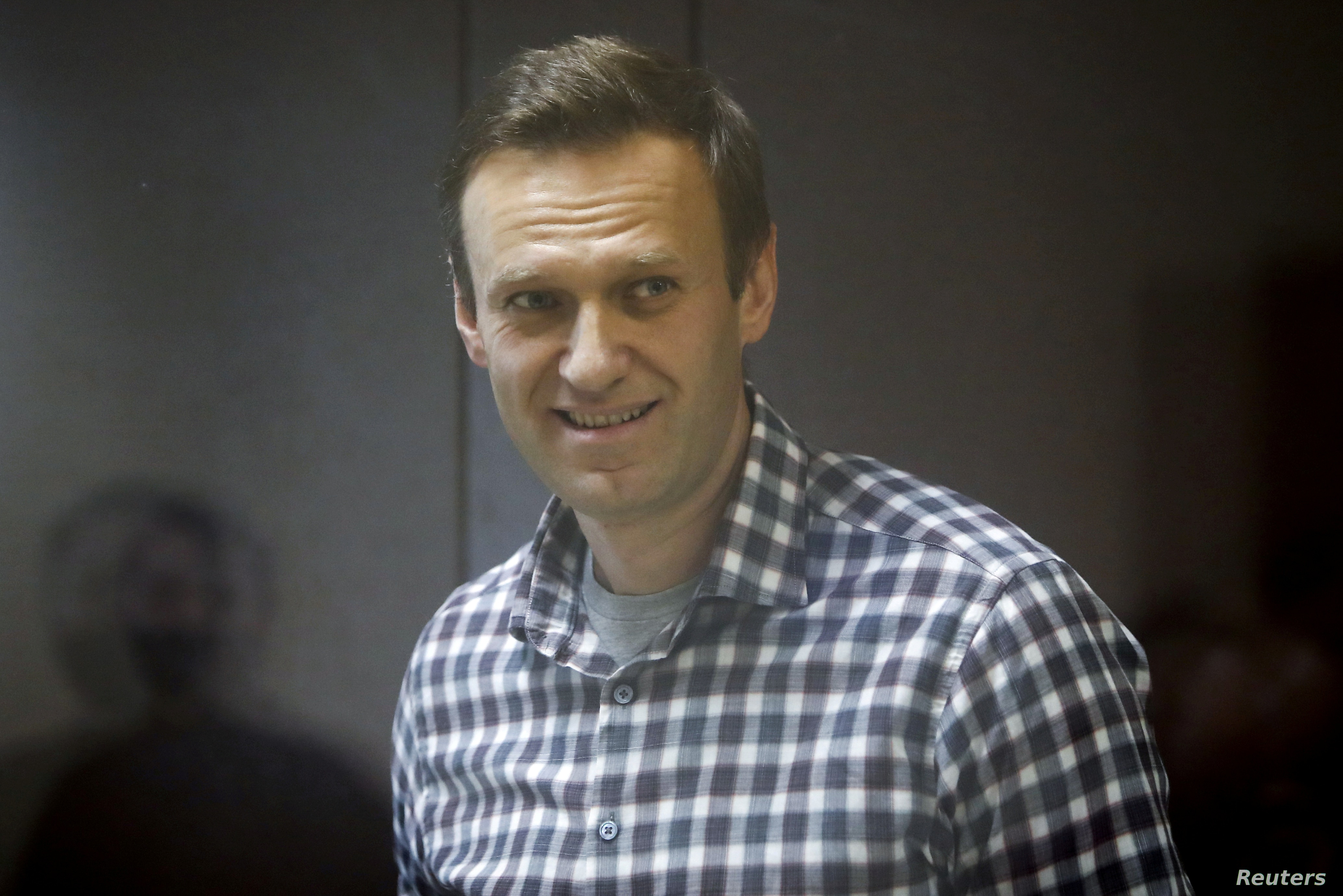 Alexei Navalny attends a court hearing in Moscow Russia