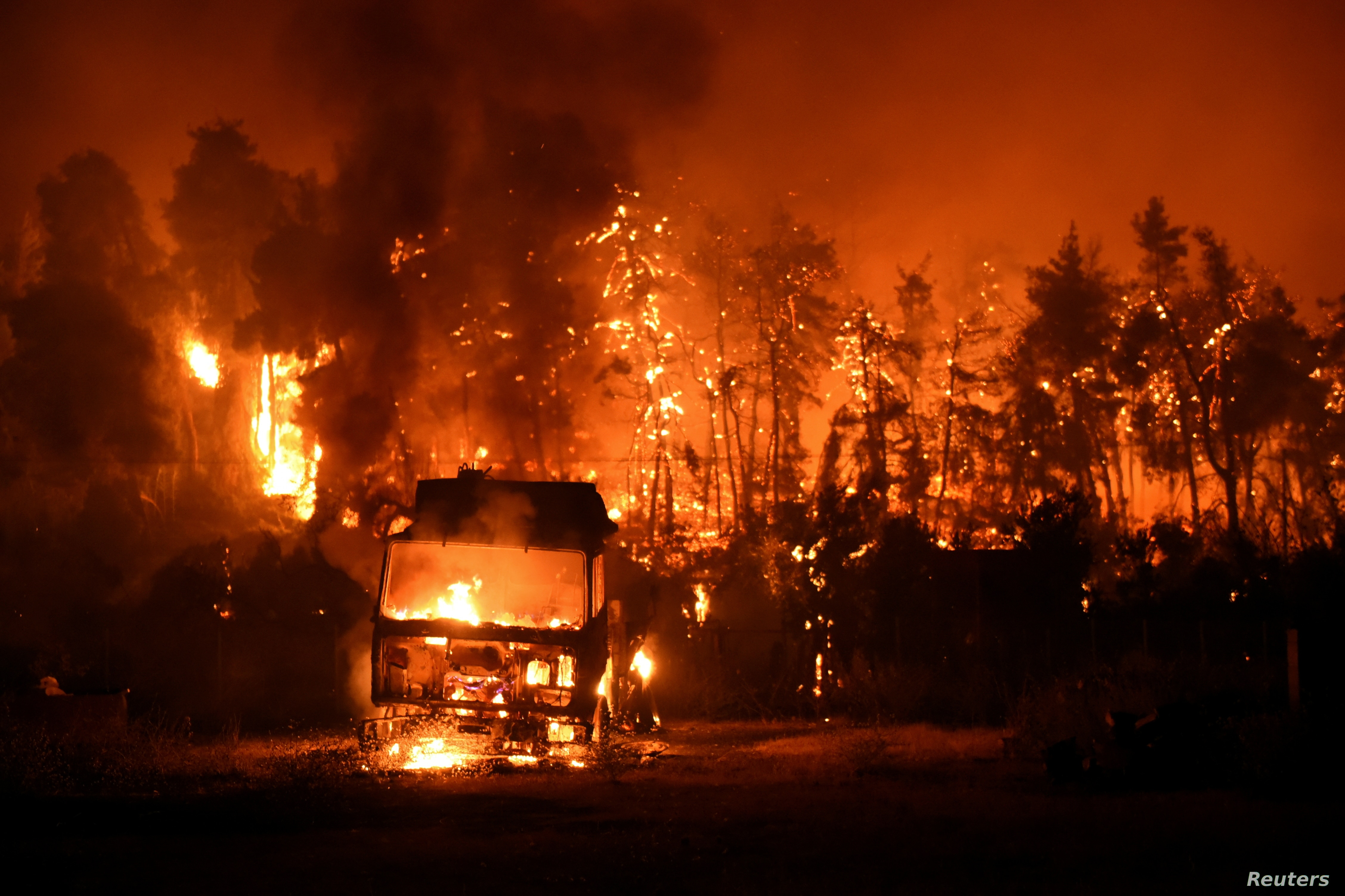 Blaze ravages the island of Avia on the sixth day of Greek wildfires