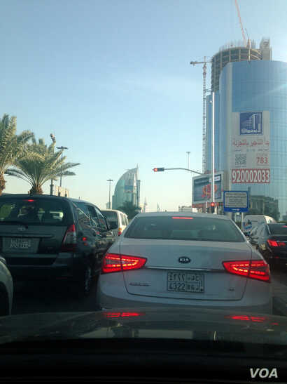 In part due to heavy traffic in Riyadh, the government is building a metro-line and new roads that will need laborers for years to come, Jan. 25, 2016.