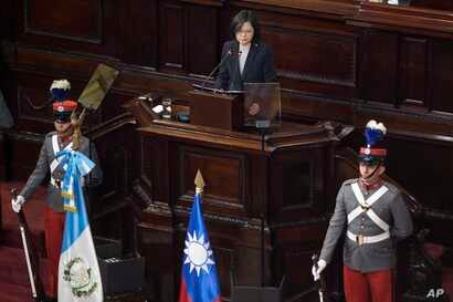 Taiwan's President Tsai Ing-wen  delivers a speech to Guatemala's Congress in Guatemala City, Jan. 12, 2017.