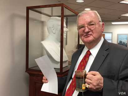 Longtime Republican Morton Blackwell walks by a Carrara marble bust of President Ronald Reagan. Blackwell had it commissioned for his Leadership Institute. Blackwell says he thinks Republicans will need more than money to fare well in the 2018 midter...