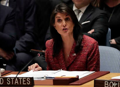 United States Ambassador to the United Nations Nikki Haley speaks during a Security Council meeting, April 10, 2018, at United Nations headquarters.