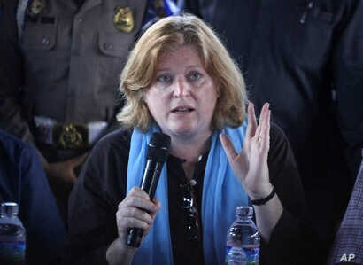 FILE - Anne Richard, assistant secretary of state for population, refugee and migration, pictured during a June visit to Indonesia, says the 65,000 to 100,000 in U.S. admissions that some refugee groups and lawmakers have called for is currently unat...
