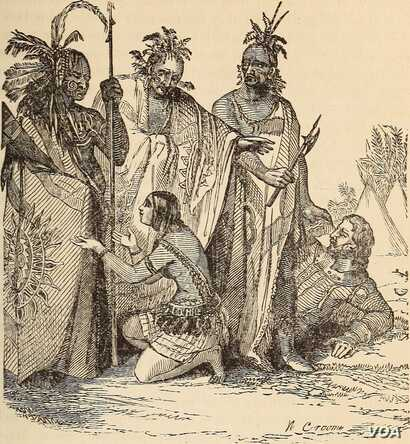 Illustration from an 1868 history book, depicting Pocahontas pleading with her father for the life of Captain John Smith, an event historians say never happened.