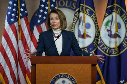 House Speaker Nancy Pelosi of Calif., speaks during a news conference on Capitol Hill in Washington, Thursday, Jan. 17, 2019.