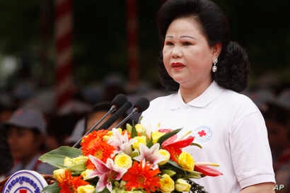 FILE - Cambodian Red Cross, led by Prime Minister Hun Sen's wife, Bun Rany, has been criticized in the past for its close ties to the ruling Cambodian People's Party.