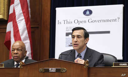 FILE - House Oversight and Government Reform Committee Chairman Rep. Darrell Issa, R-Calif., right, seen with the committee's ranking Democrat Rep. Elijah Cummings, D-Md., presides over the committee's hearing on the Freedom of Information Act on Cap...