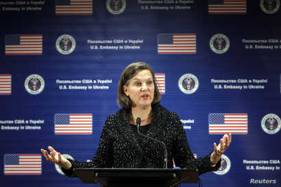 U.S. Assistant Secretary of State Victoria Nuland addresses a news conference at the U.S. Embassy in Kiev, Feb. 7, 2014.