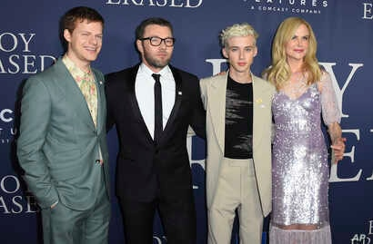 """Lucas Hedges, from left, Joel Edgerton, Troye Sivan and Nicole Kidman arrive at the Los Angeles premiere of """"Boy Erased,"""" Oct. 29, 2018, at the Directors Guild of America."""