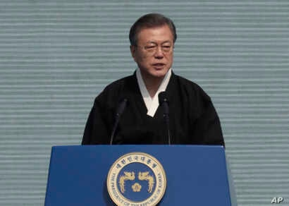South Korean President Moon Jae-in delivers a speech during a ceremony to mark the 100th anniversary of the March First Independence Movement Day, the anniversary of the 1919 uprising against Japanese colonial rule, in Seoul, South Korea, March 1, 20