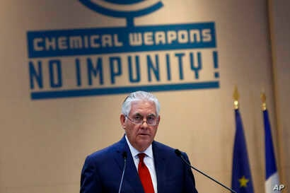 U.S. Secretary of State Rex Tillerson delivers a speech during a foreign ministers' meeting on the International Partnership against Impunity for the Use of Chemical Weapons, in Paris, Jan. 23, 2018.