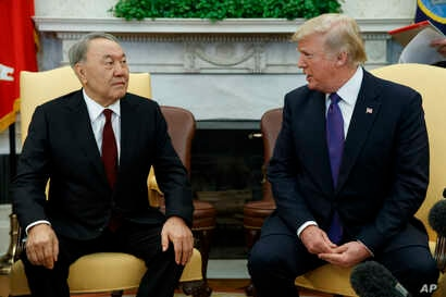 President Donald Trump meets with Kazakhstan's President Nursultan Nazarbayev in the Oval Office of the White House, Jan. 16, 2018, in Washington.