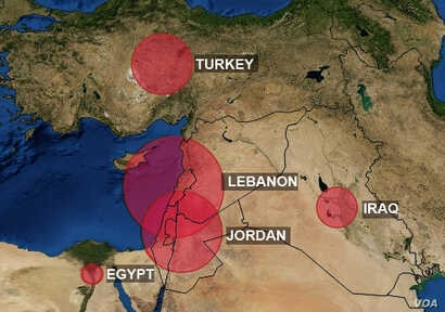 Map showing Syrian refugee populations.