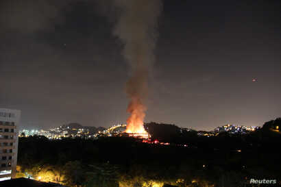 A fire blazes at the National Museum of Brazil in Rio de Janeiro, Brazil, Sept. 2, 2018, in this picture obtained from social media.