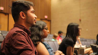 Nisarg Mistry says he felt it was important as a man to engage in more conversations about feminism. (E. Sarai/VOA)