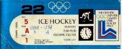 """A ticket stub from the """"Miracle on Ice"""" with a hand-written final score, February 22, 1980. Credit: S. Springer/VOA"""
