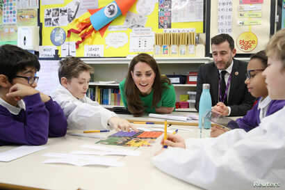 Catherine, Duchess of Cambridge meets pupils at Lavender Primary School in support of Place2Be Children's Mental Health Week 2019 on Feb. 5, 2019 in London, Britain.