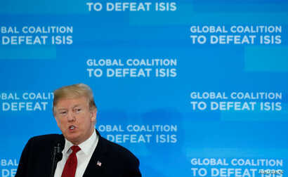 U.S. President Donald Trump addresses a gathering of foreign ministers aligned toward the defeat of Islamic State at the State Department in Washington, Feb. 6, 2019.