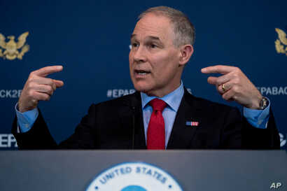 Environmental Protection Agency Administrator Scott Pruitt speaks at a news conference at EPA offices in Washington, April 3, 2018.