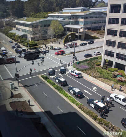 Officials are seen following a possible shooting at the headquarters of YouTube, in San Bruno, California, April 3, 2018 in this picture obtained from social media.