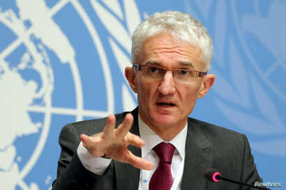 """U. N. Under-Secretary-General for Humanitarian Affairs and Emergency Relief Coordinator (OCHA) Mark Lowcock attends a news conference for the launch of the """"Global Humanitarian Overview 2019"""" at the United Nations in Geneva, Switzerland, Dec. 4, 2018"""