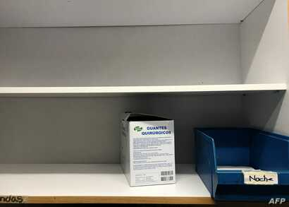 A box of surgical gloves remains on the shelves of the pharmacy at the Dr. Miguel Perez Carreno Hospital, in the west of Caracas, Venezuela, Dec. 31, 2018.