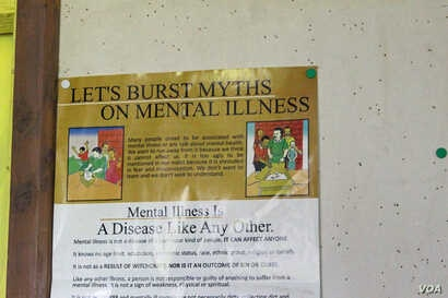 A pin-up poster promoting mental health awareness is seen on a wall at the offices of the Shizophrenia Foundation of Kenya in Ngong. (R. Ombuor/VOA)