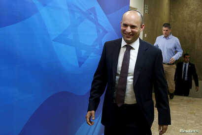 Israeli Education Minister and head of the Jewish Home right-wing party Naftali Bennett arrives to the weekly cabinet meeting at Prime Minister Benjamin Netanyahu's Jerusalem office December 4, 2016.