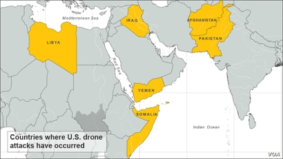 Countries where U.S. drone attacks have occurred